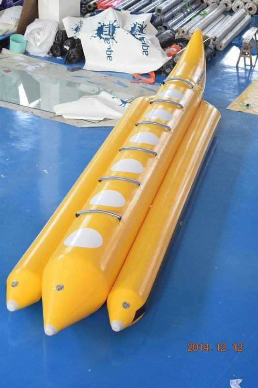 Yellow Color Lake Inflatable Banana Boat Fly Fish With EN15649 For Children