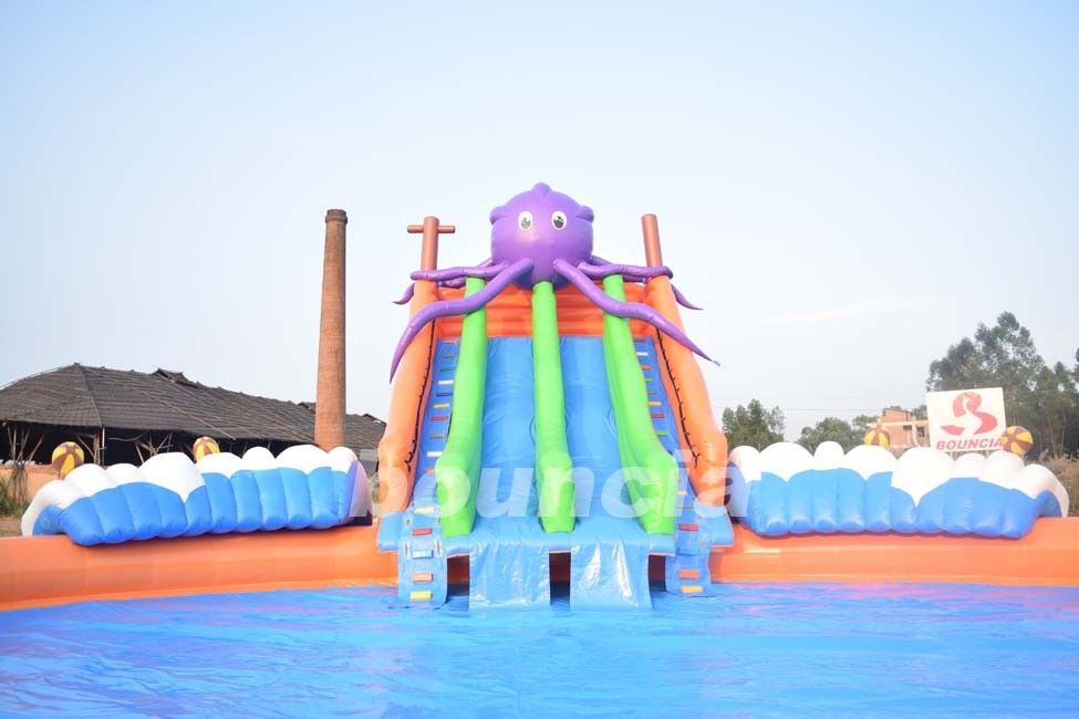 20m Giant Portable Inflatable Water Park Slide With Pool For