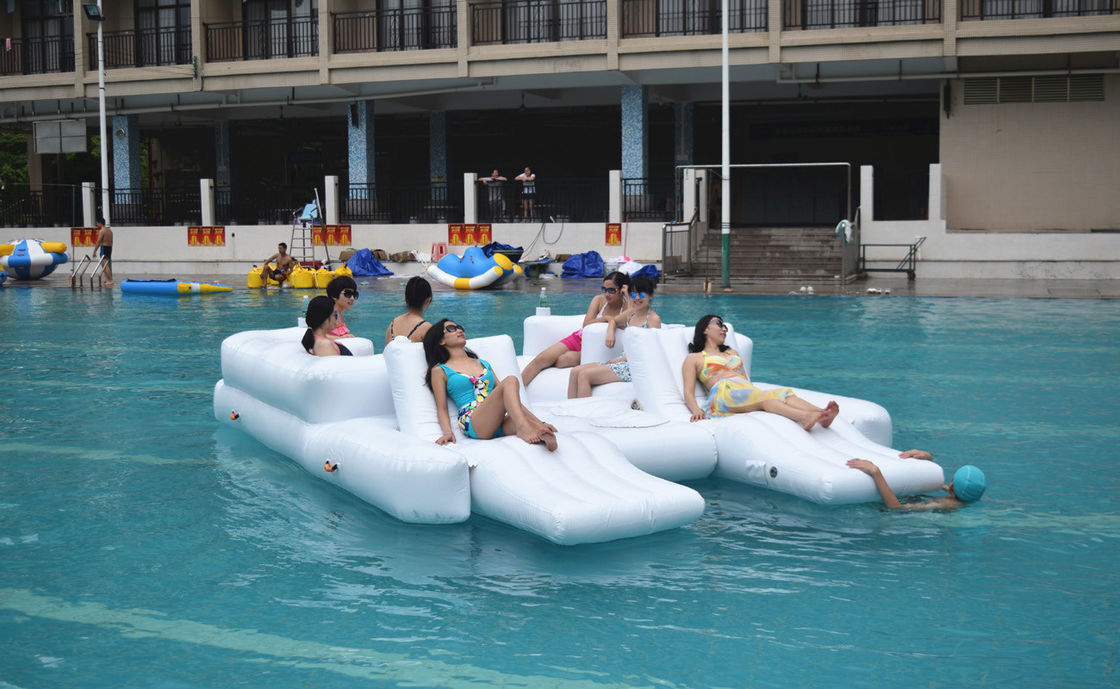 White Color 6 Persons Inflatable Floating Island Lounge For Water Sports supplier