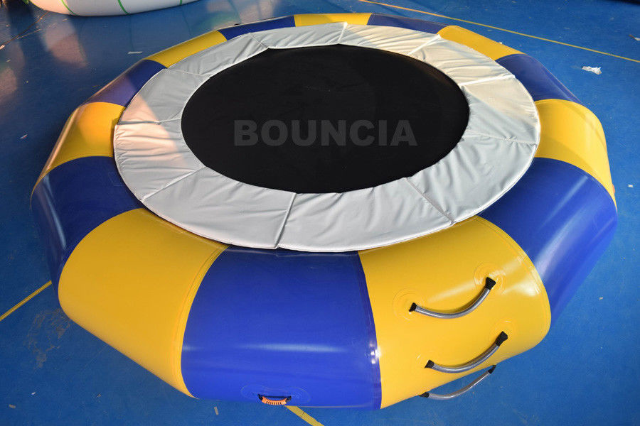 PVC Tarpaulin Round Inflatable Water Trampoline Durable With Spring Structure supplier