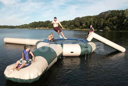 0.9mm PVC Inflatable Water Trampoline Combo With Water Slide supplier