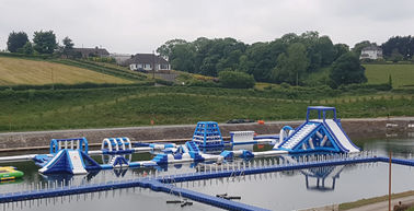 Giant Inflatable Water Park Games In Belfast  / Inflatable Water Circuit Manufacturer